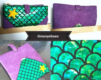 Little.mermaod inspired ladies purse wallet card holder coin purse.