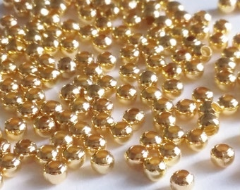 Gold Plated Beads 3mm - 12g Bag (Approx. 250pcs) Round Ball Metal Jewelry Findings Supplies - B01091