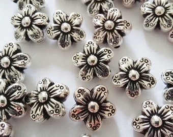 25pcs Silver Flower Beads - Acrylic Metalized Beads - 10mm Beads - Plastic Beads - Craft Beads - Jewelry Making Supplies - B02542