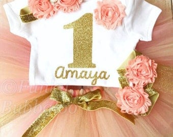 Peach Coral & Gold Personalised First Birthday Tutu Outfit, Gold Glitter Number Top, Headband, 1-3 years, Baby Girl Photoshoot Cake Smash