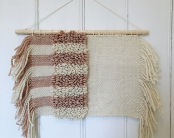 Hand Woven Wall Hanging with Blush and Off-White Stripes and Side Fringe