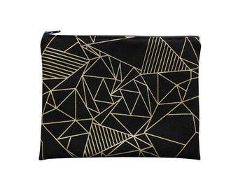 Cotton zip pouch, black and gold, geometric pattern - hand-printed