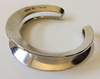 Hans Hansen Denmark Sculptural Modernist Sterling Silver Cuff Bracelet