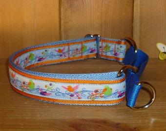 17 - 25 ins Martingale Dog Collar - Medium Large - Blue Orange Birds