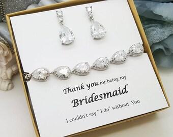 Teardrop bridesmaid Earring,  Teardrop Bracelet Set, Cubic Zirconia Bracelet Earrings Set with message gift box