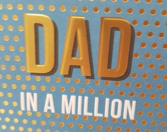 Cards for Fathers Day, Gold foil dotty DAD in a million fathers day card, Polka dot elegant Dad's Day card, Blue and Gold Fathers Day Card