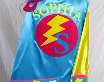 SUPERHERO Cape/Custom Bolt Cape in 3 sizes/Holiday Gift for Kids/Long Lasting 100% Machine Washable-Accessories Available