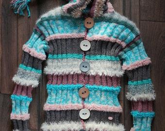 Knitted jacket. Women jacket/Warm jacket/Winter jacket/Bright knitted jacket/knitted jacket with hood/Boho style/Wool women clothes