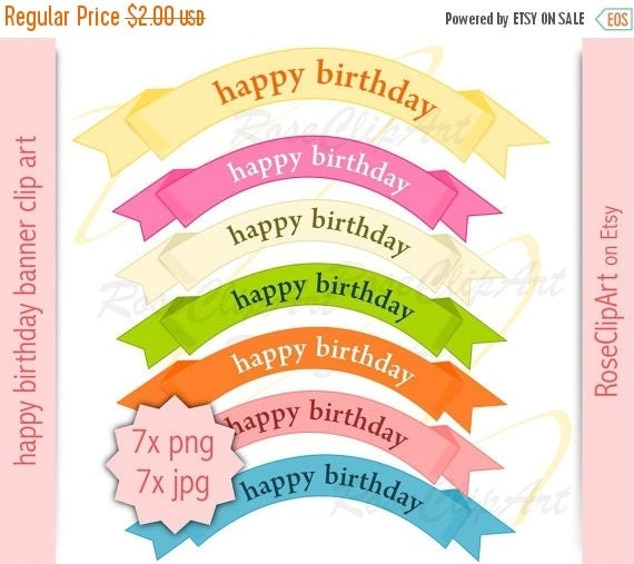 ON SALE 7x Birthday Banner Clipart Instant By RoseClipArt