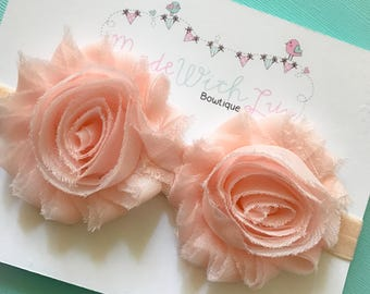 Vintage Light Pink Shabby Flower Headband
