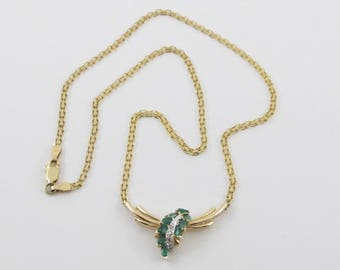 """14k Yellow Gold Diamond And Emerald necklace 16"""" 1.00 carat"""