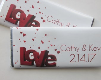 Love Candy Bar Wrapper Favor-Personalized Candy Wrapper with Hershey bar-wedding favor-shower favor-love favor-wedding party-red love favor