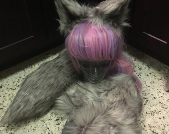cat/wolf ears, tail, and paw set