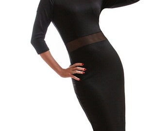 Simple black dress Combined Elegant dress Evening Occasion Midi dress Casual clothing for women