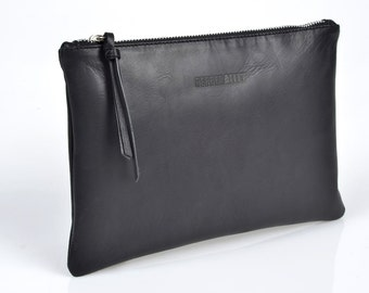 Black Leather Clutch with Ruby Satin Lining