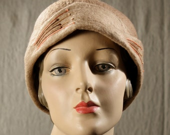 Cloche Hat in Taupe and Fawn Felted Wool w/Contrasting Embroidery - Hand Felted Wool Hat - Taupe Wool Hat - 1930's Style Cloche