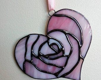 Stained Glass Pink Rose Heart
