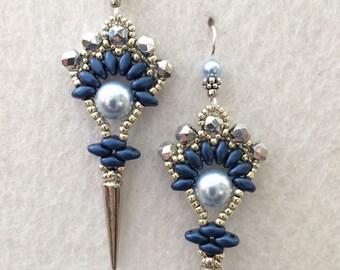 Blue Pearl and Czech Crystal Art Deco Fan Earrings