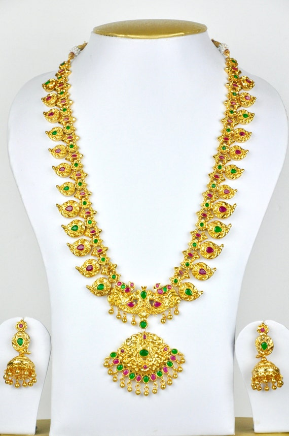 Antique gold design Indian mango temple necklace  with earrings  | Indian Jewellery | Indian Necklace | Temple Jewelry