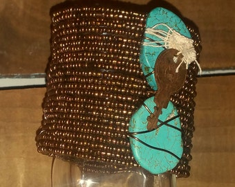 Turquoise Gemstone Bracelet Cuff Memory Wire Bracelet Chunky Stone Bracelet Wire Wrapped Turquoise Howlite Stones Boho Jewelry Cuff Bracelet
