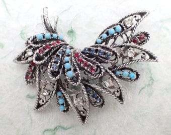 Signed BSK Abstract Leaf brooch antiqued silver tone AB994