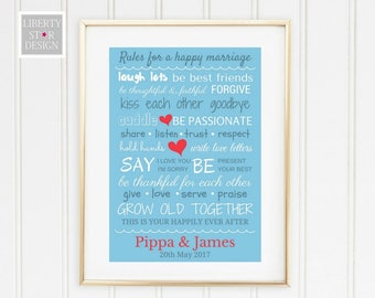 Personalised Marriage Rules Print. Wedding Gift, Personalised Print, Home Decor, Anniversary Gift