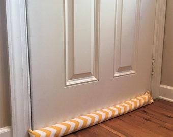 Door Draft Stopper Window Draft Blocker EMPTY Insulating Breeze Blocker Energy Saver Zigzag Corn Yellow/White