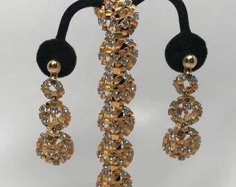Exquisite Vintage Boucher Crystal Clear Rhinestones Bracelet & Earrings Set