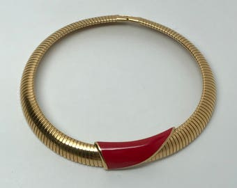 1980s MONET Vintage Gold Tone Flex Collar Choker Necklace Red Enamel