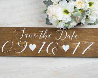 Save the Date Sign- Wedding Date Sign- Engagement Photo Prop Sign- Personalized Wedding Sign- Wooden Wedding Signage- Rustic Wedding Sign
