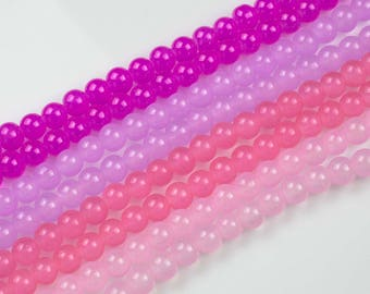 6mm and 8mm Jade Glass Pearl- 16 Inch strand- 5 strand or 10 strand- Pinkish color
