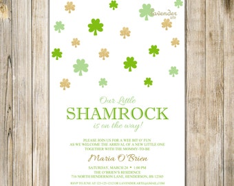 ST PATRICK'S DAY Baby Shower Invitation, Little Shamrock On the Way Invite, Irish Baby Girl Boy Shower, Saint Patty Day, Digital Printable