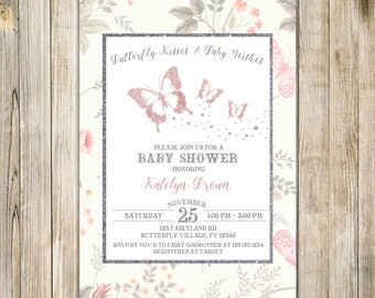 BUTTERFLY Kisses BABY SHOWER Invitation, Silver Pink Baby Girl Shower Invite, Whimsical Butterflies Baby Sprinkle, Floral Garden Tea Party