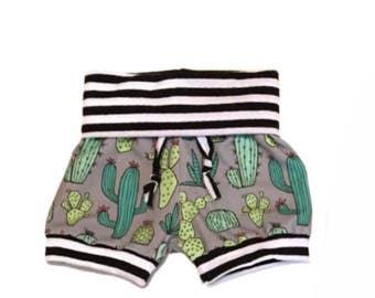 Cactus Foldover Shorts, Yoga Shorts