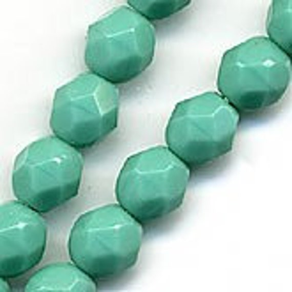 10pcs Green Turquoise Table Cut Czech Glass Oval Beads 9x8mm BB64