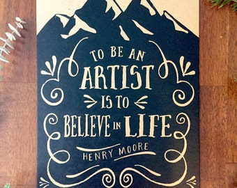 Henry Moore Quote Screenprint