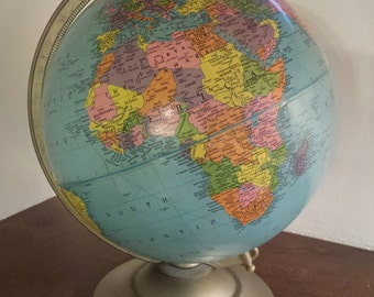 Mid Century Replogle 12 Inch Reference Globe Revolving World Globe mid 1960's