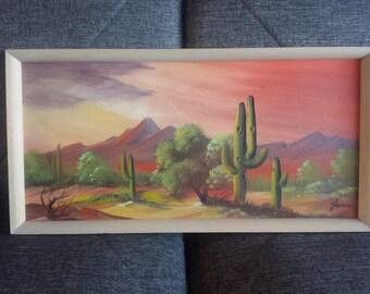 1971 Picacho Peak Arizona Desert Painting Original Artwork Dated and Signed