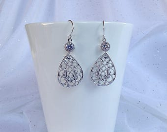 SILVER TEARDROP EARRINGS - Teardrop Earrings - Silver Filigree Teardrop - Silver Filigree Earrings