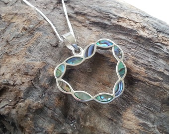 Sterling Silver Abalone Paua Shell Heart Pendant Necklace