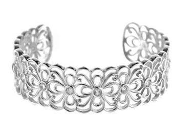 Beautiful Sterling Silver CZ Flowers Bangle 19mm Wide