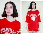 Vtg 70s Stanford University Tshirt  California American Football Jersey Athletic Unisex Tshirt Hipster Fashion College Sportswear