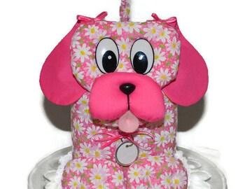 Tissue Box Cover Puppy Dog Bright Pink White Daisy Flower Handmade Fabric Tissue Dispenser White Bows White Lace White Dog Tag  D-16
