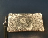 Handmade Black and White Paisley Design Print Wallet Wristlet Phone Case with strap