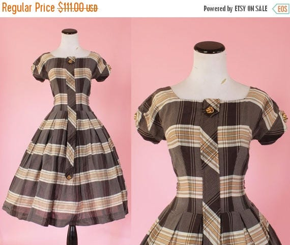 SALE 15% STOREWIDE 1950s plaid dress/ 50s brown day dress/ small