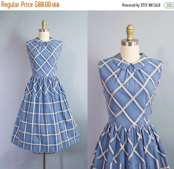SALE 15% STOREWIDE 1950s geometric print day dress/ 50s cotton plaid dress w/ open back/ small