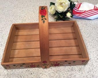 Vintage handmade Wood Basket Tray Caddy Tote