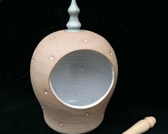 Hand Thrown Stoneware Turquoise Dotty Salt Pig