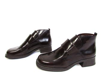 Vintage 1990's Brown Patent leather Ankl Boots Size EUR 36 US 6 UK 3 1/2