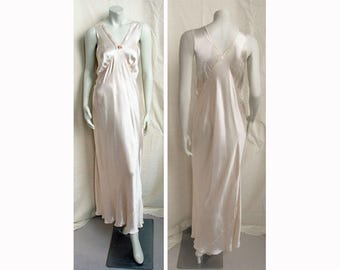 Vintage 1940s Lingerie Bias-Cut Rayon Nightgown with Embroidered & Lace Neckline